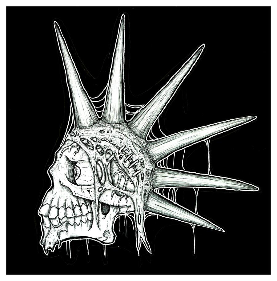 skull with a mohawk by ayillustrations on DeviantArt