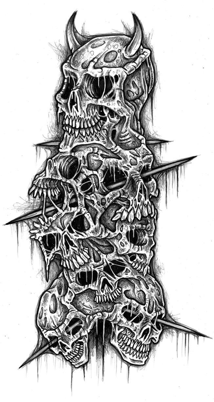 clusterfuck of skulls by ayillustrations