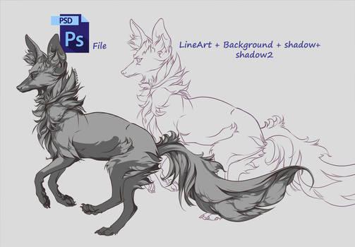 FREE LineArt Fox + PSD file