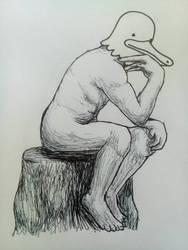 Duck Thinker - Inktober day #25 by Chander-Fox
