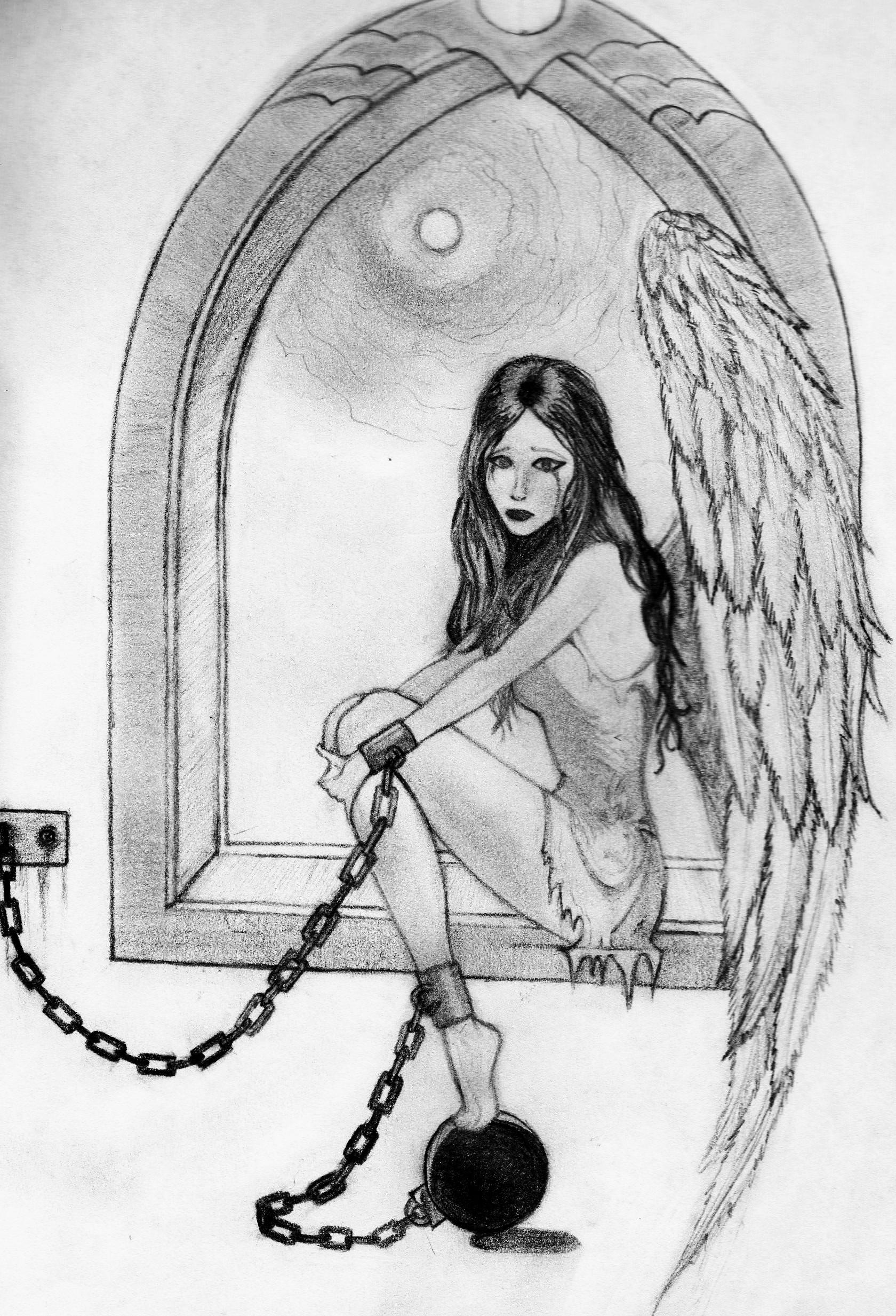 Captive angel pencil sketch by a fragile smile on deviantart