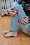 Cute Jeans and Bare Feet