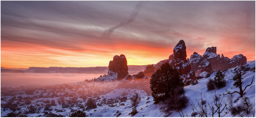 Snow, Fog, and Arches Pano by tourofnature