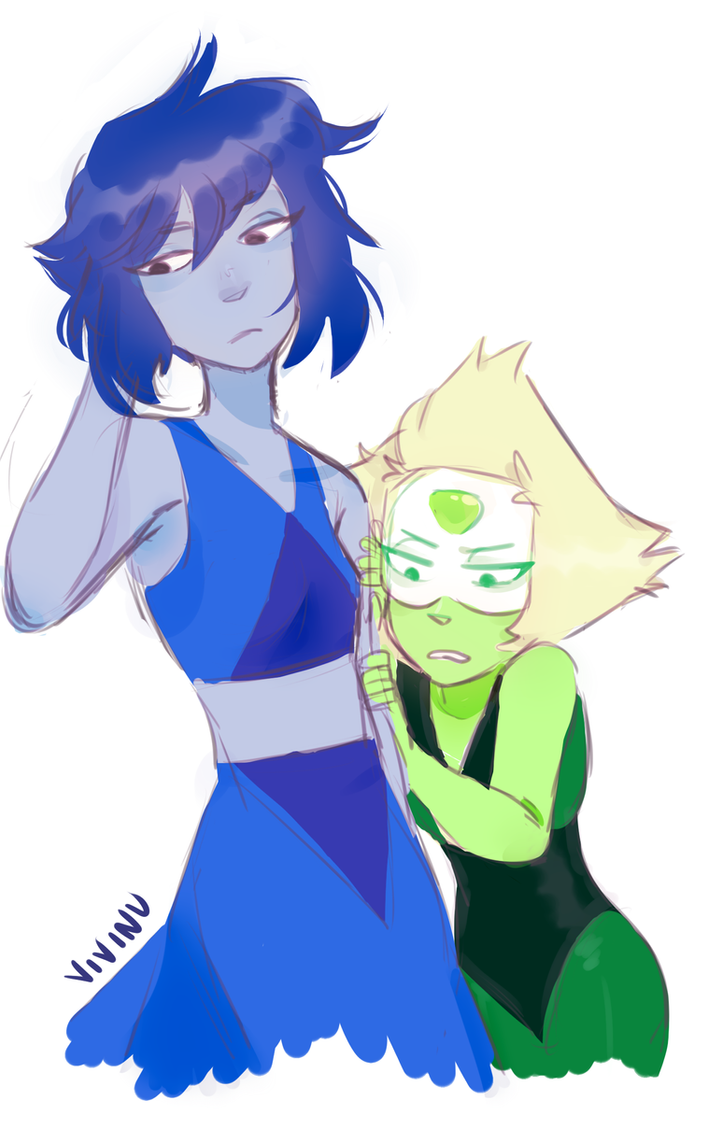 "If Jasper where to ever come back, I just imagine Peridot to be like ""dON'T WORRY LAPIS STAY BEHIND ME I'LL PROTECT U"" but then she hides behind Lapis lmao just experimenting w styles here I guess?..."