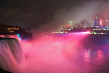 Pink Lights over Niagara Falls by conbot