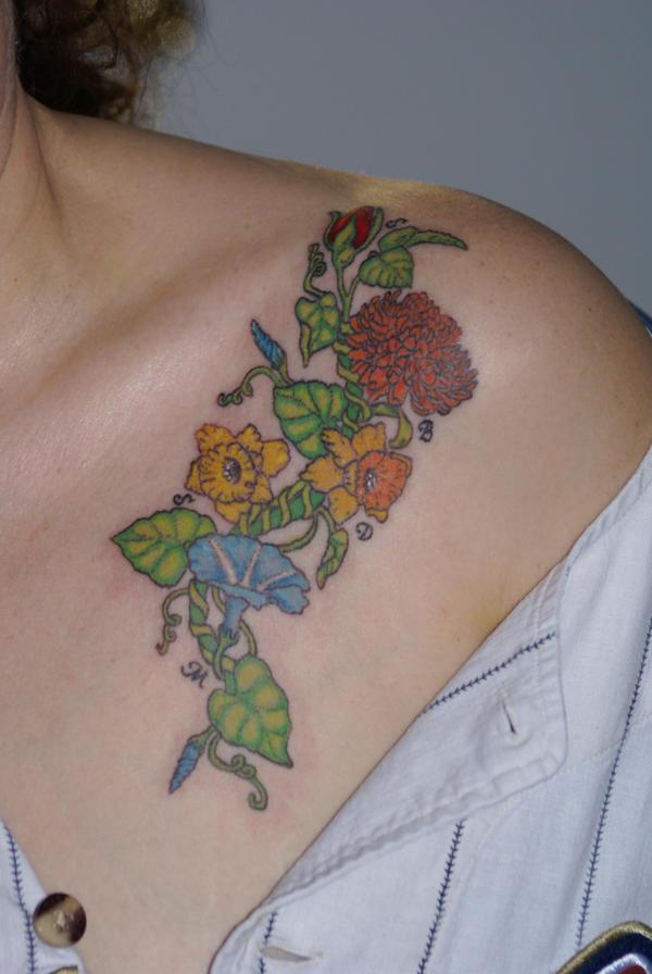flower colored tattoo - flower tattoo