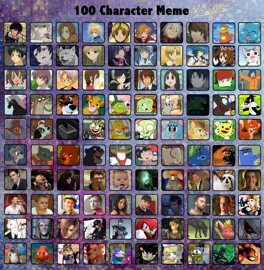 Cartoon Characters 2 100 Pics : Character meme by arkay on deviantart