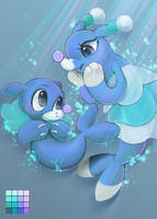 Popplio and Brionne by Arkay9