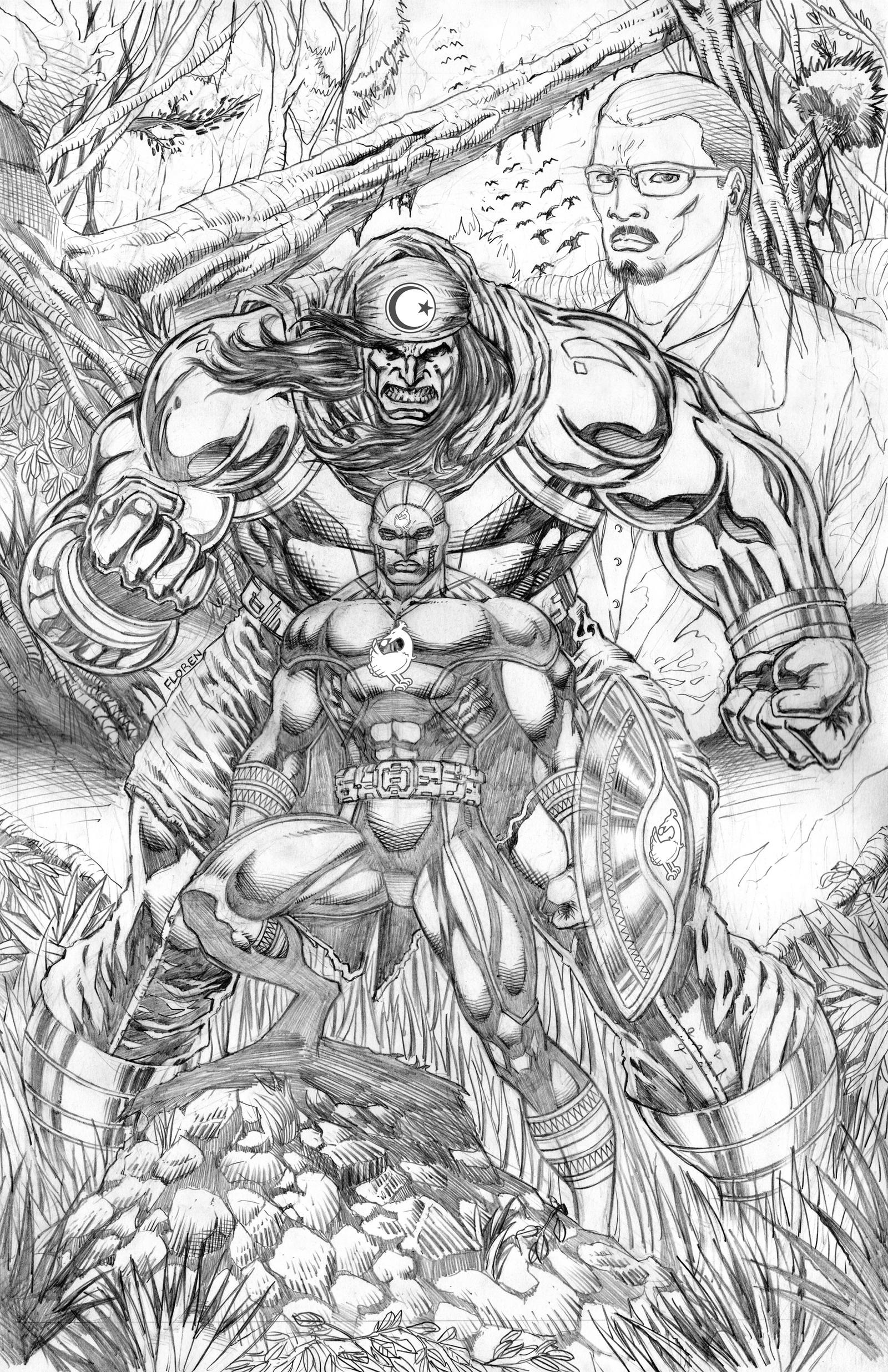 Cover Art: Captain Africa and Anzar Pencils by florencuevas