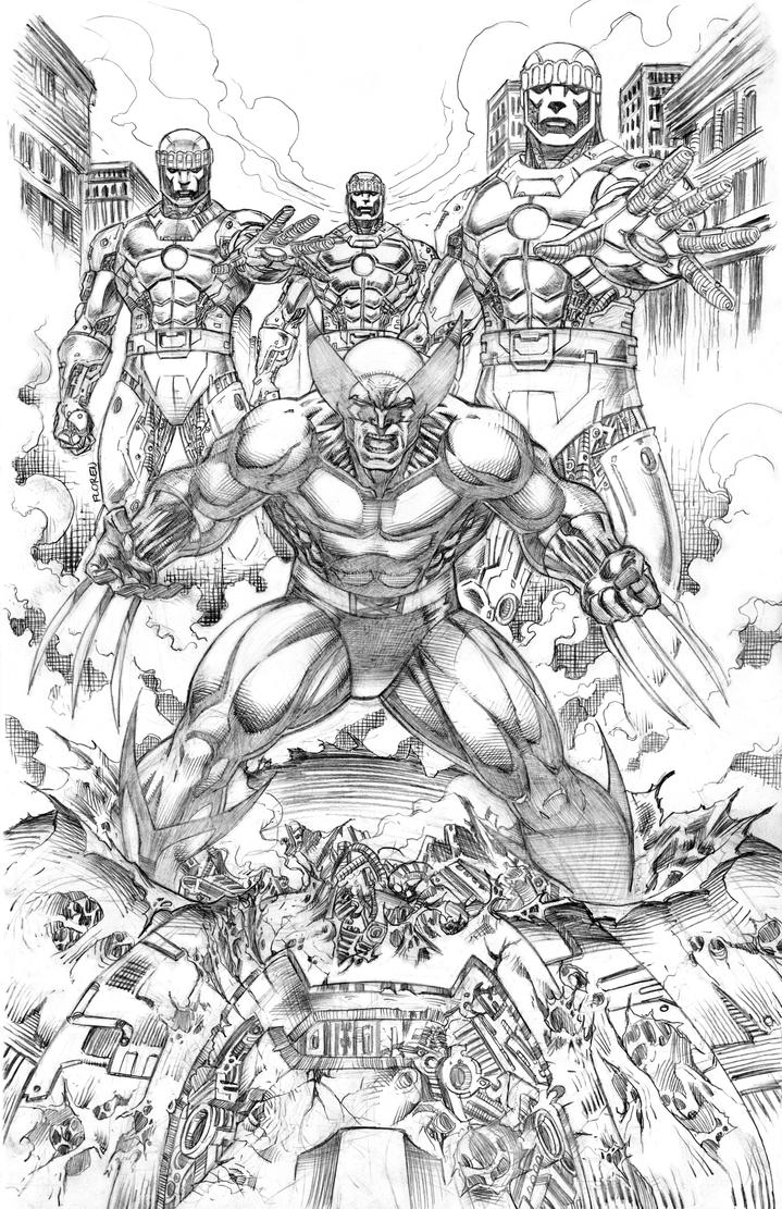 Wolverine vs. Sentinels by florencuevas