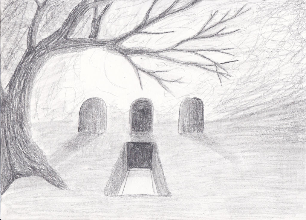 Graveyard Pencil Drawi...