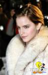 Emma Watson in fox fur coat