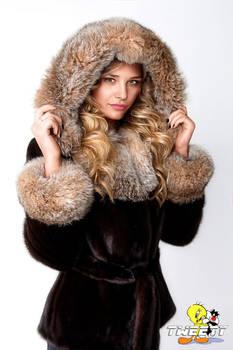 Chloe Grace Moretz in fur coat (commission)