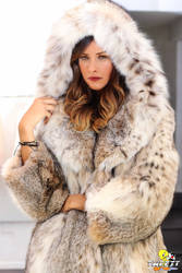 Evangeline Lilly in lynx fur coat (commission)