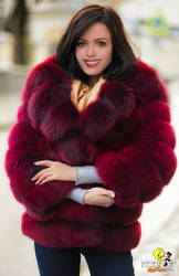 Anne Hathaway in fox fur coat (commission)
