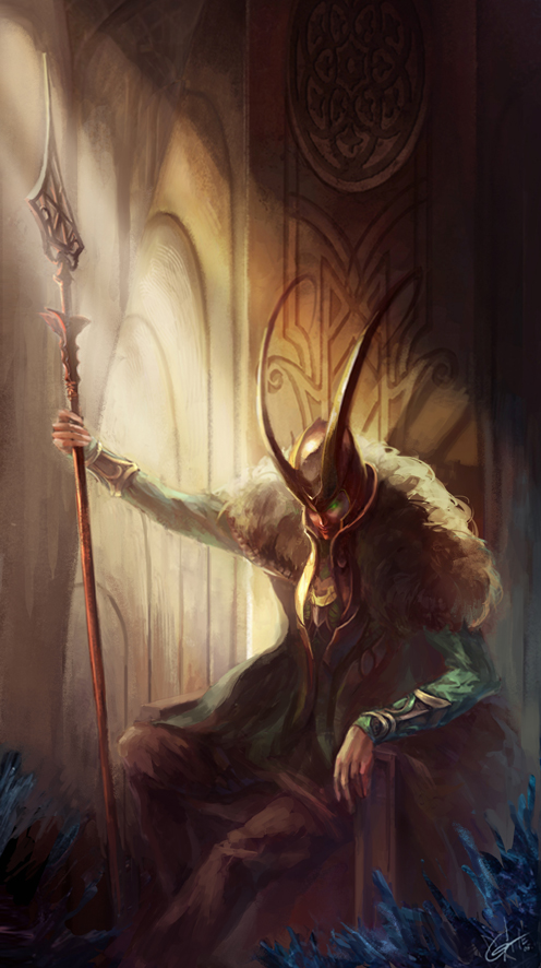 Loki on the throne by agathexu