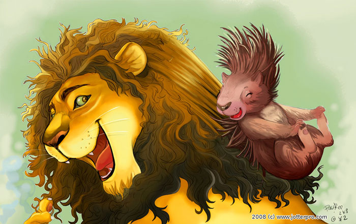 The Lion and the Porcupine by froggiechan