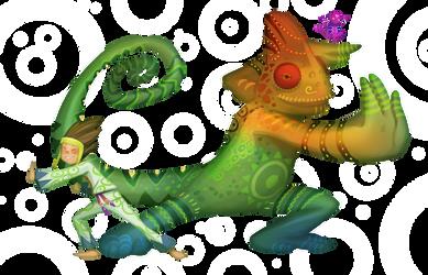 Chameleon and Kid by froggiechan