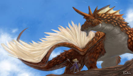 Dragon and knight by froggiechan