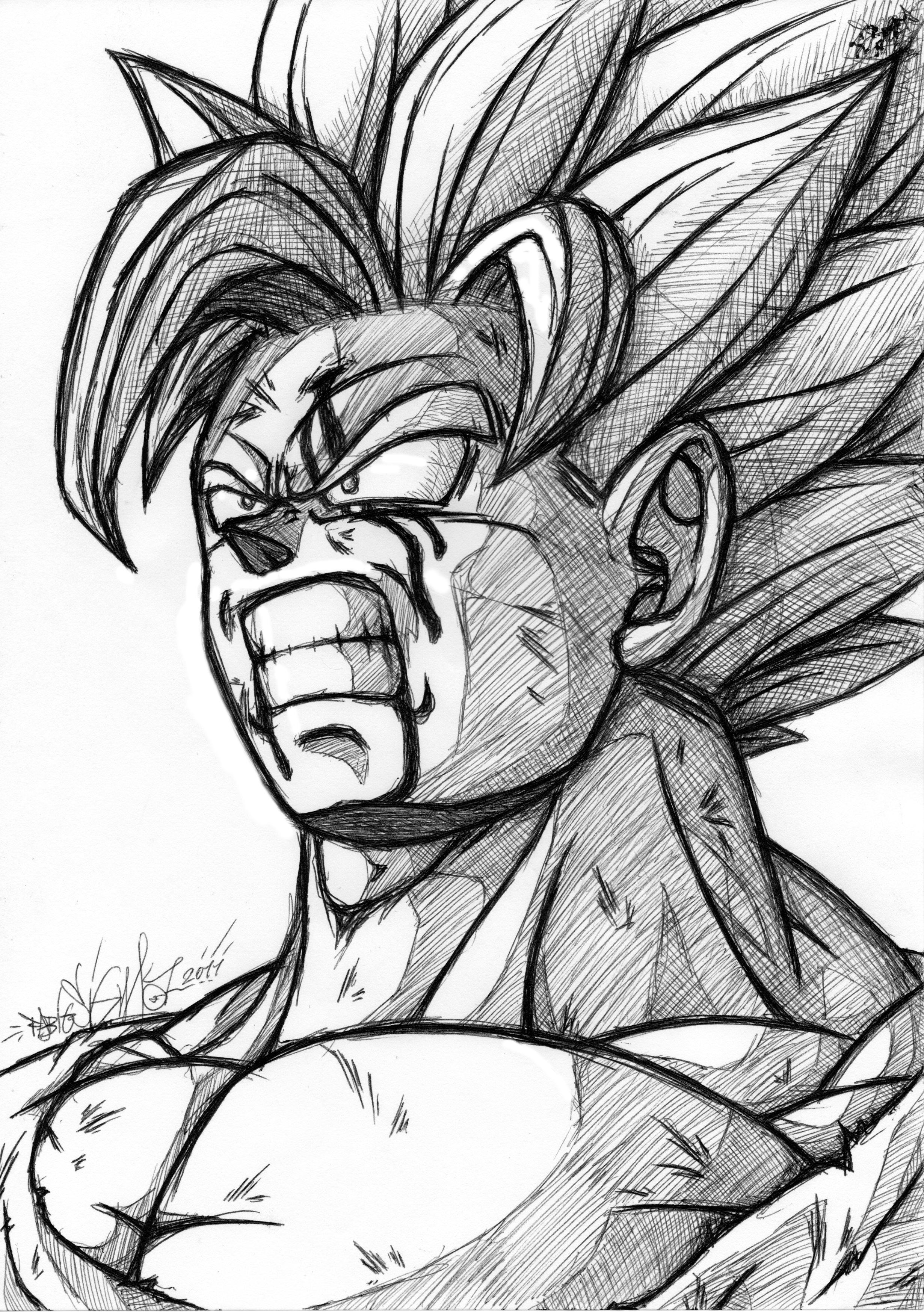 Goku SSJ2 Black Pen draw by SigmaGFX on DeviantArt