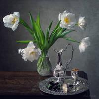 With white tulips by Daykiney