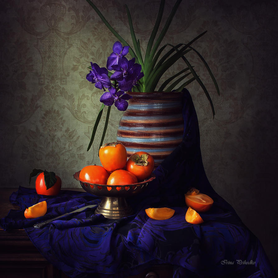 Still life with orchid and persimmon by Daykiney