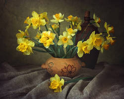 Spring still life with daffodils by Daykiney