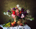 Still life with flowers and fruit garden