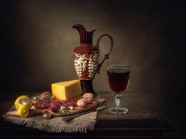 Still life with smoked meat and cheese by Daykiney