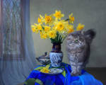 Masyanya and bouquet of daffodils
