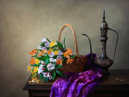 Still life with a bouquet of Peruvian lilies by Daykiney