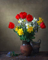Still life with spring garden flowers by Daykiney