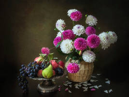 Still life with basket of dahlia flowers by Daykiney