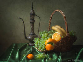 Still life with green grapes by Daykiney