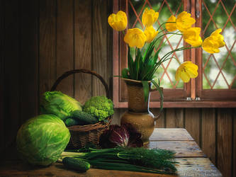 Still life with yellow tulips and vegetables by Daykiney