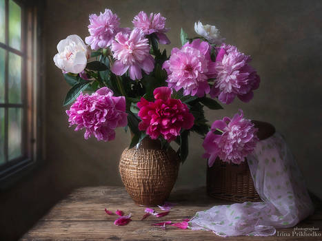 Still life with bouquet of peonies in retro style