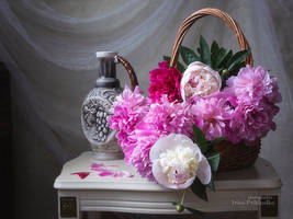 Still life with basket of peonies