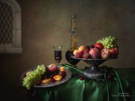 Still life with fruits in retro style by Daykiney