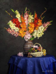 Still life with bouquet of gladiolus's