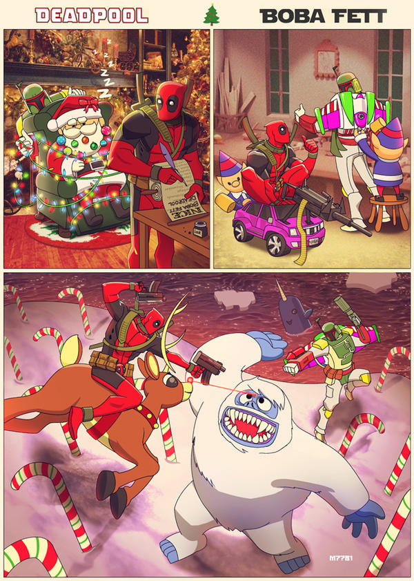 a deadpool n' boba fett x-mas! by m7781