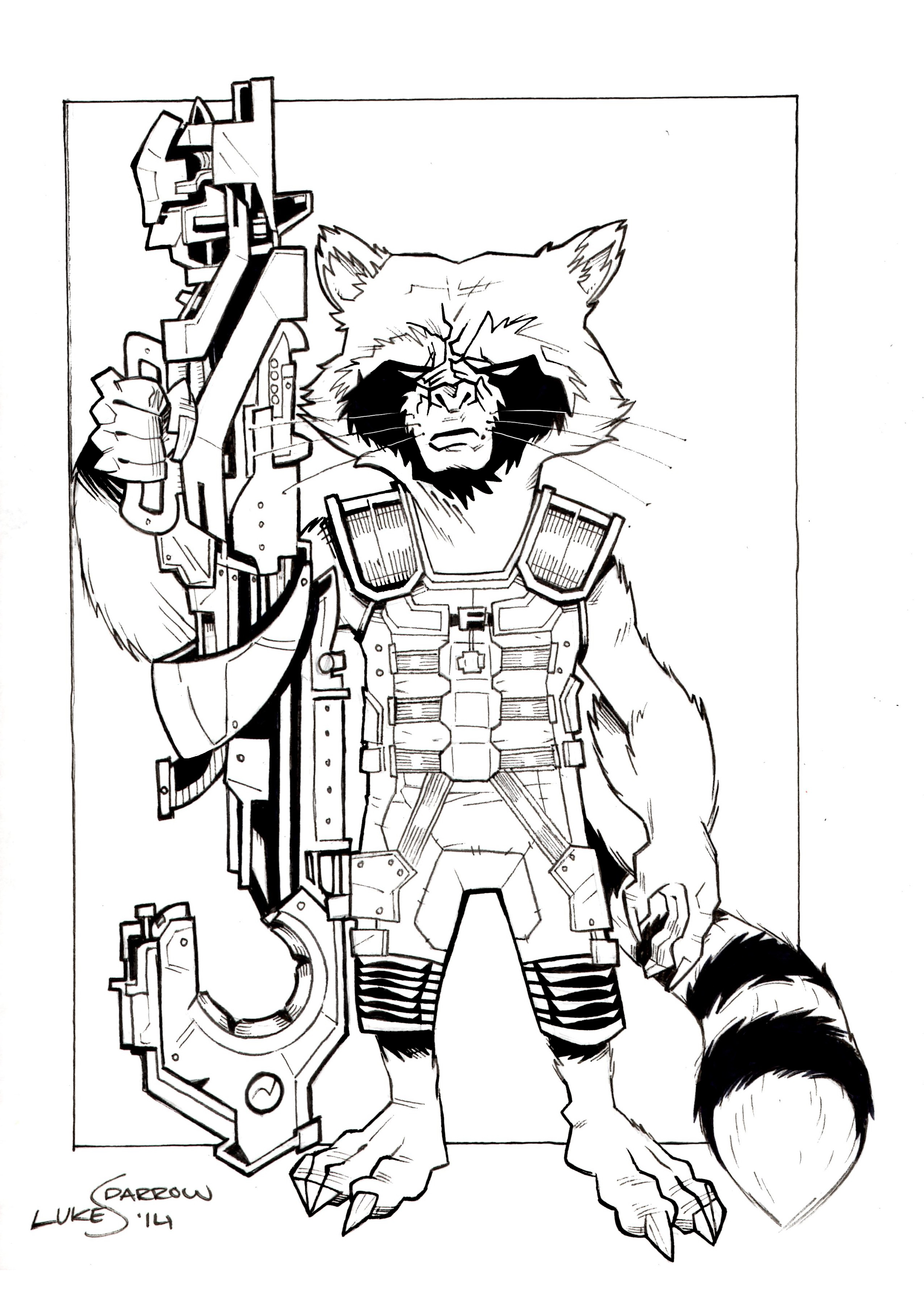 Coloring pages raccoon - Rocket_raccoon_by_lukesparrow D7s04vb Rocket Raccoon By Lukesparrow On Deviantart On Raccoon Line Drawing