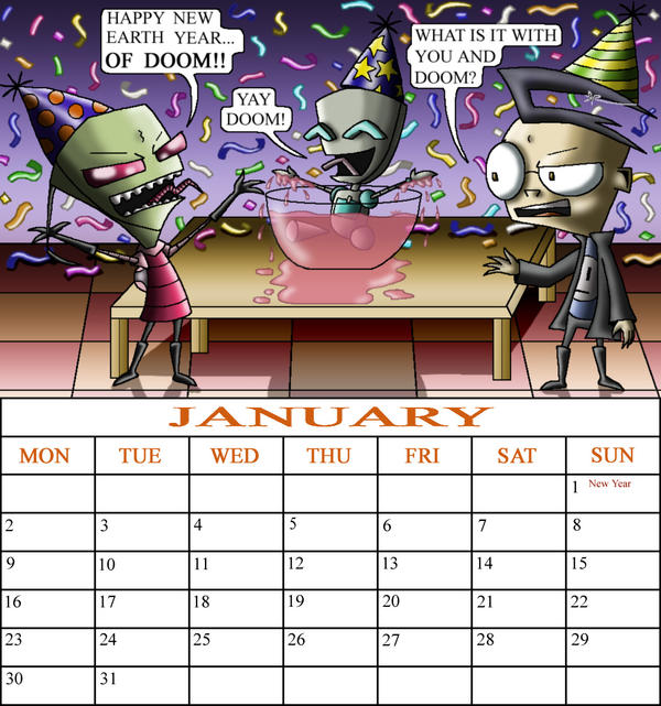 ZADR January calendar comp. by Z-A-D-R