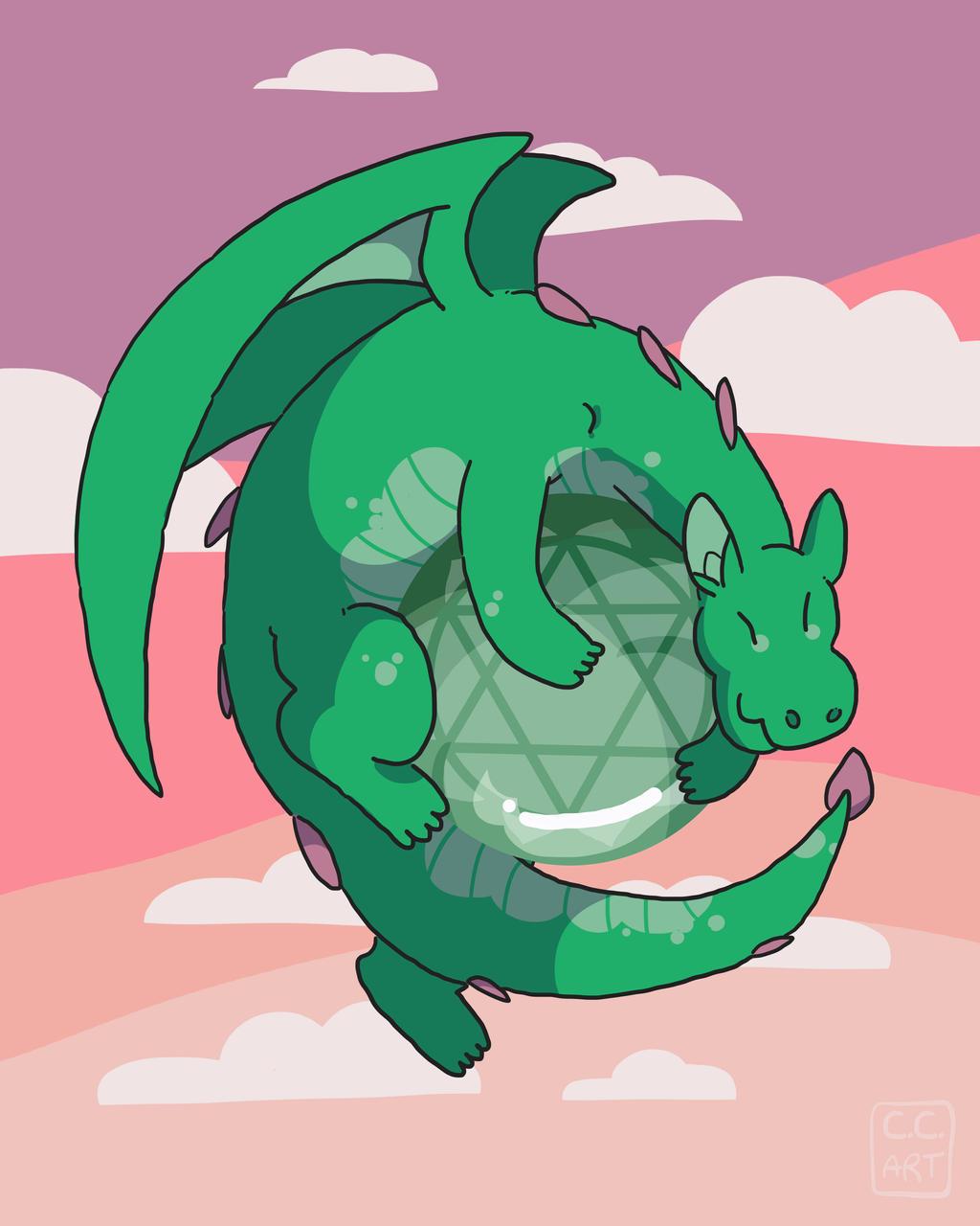 Aventurine Gemstone Dragon by ccartstuff