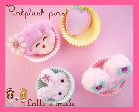 Pinkplush pins by lattemiele