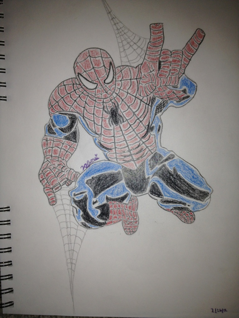 Spiderman Drawing Color Spiderman Color Drawing by