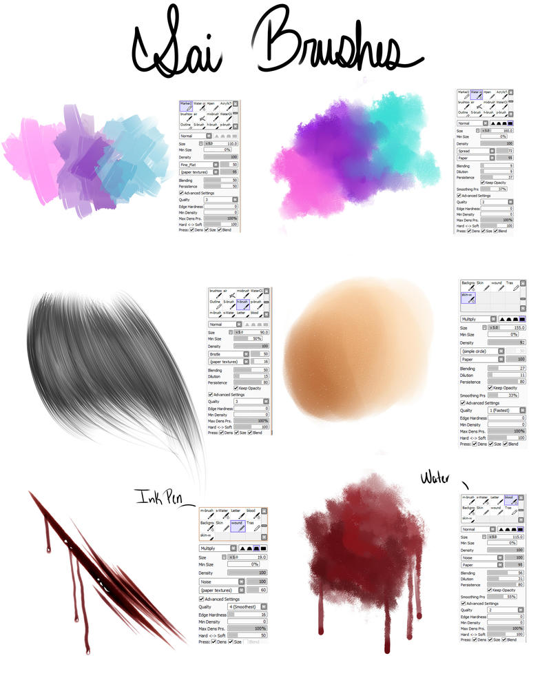 My Brushes- For Paint tool SAI by Akira-Raikou