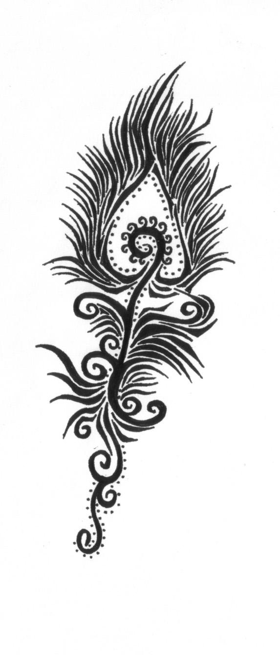 Peacock feather tattoo stencil