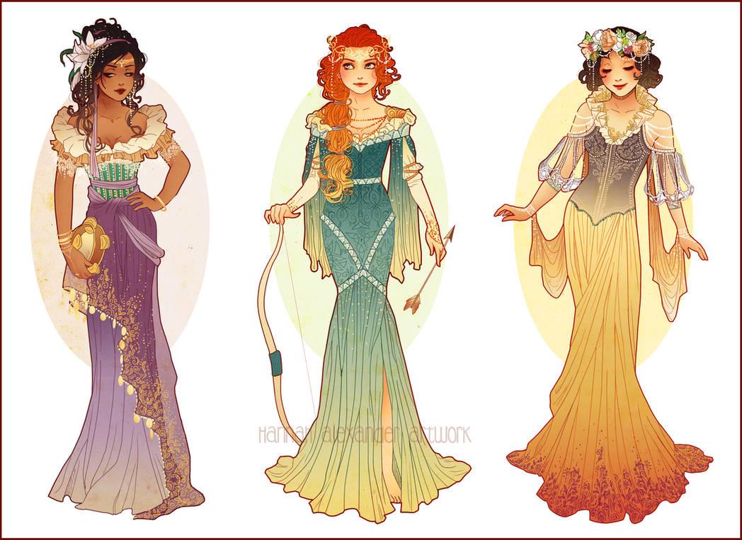 Art Nouveau Costume Designs III by Hannah-Alexander