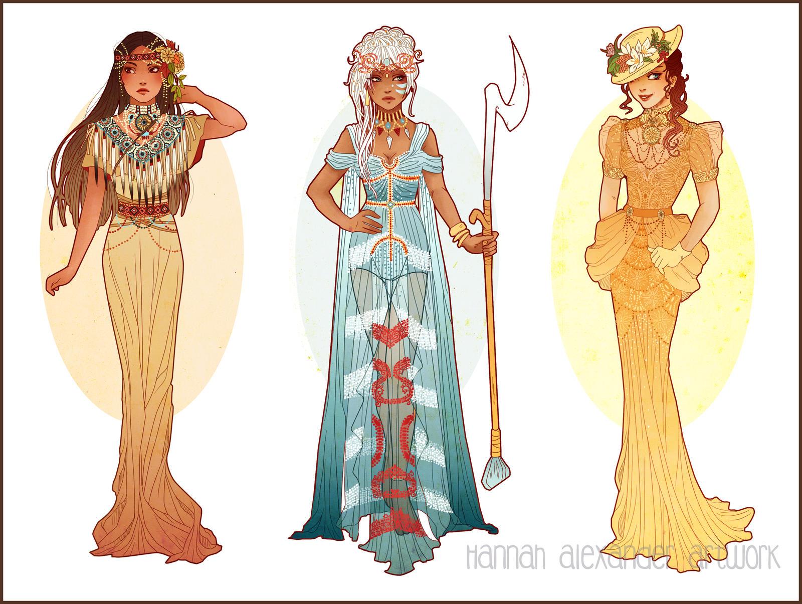 Art Nouveau Costume Designs IV by Hannah-Alexander