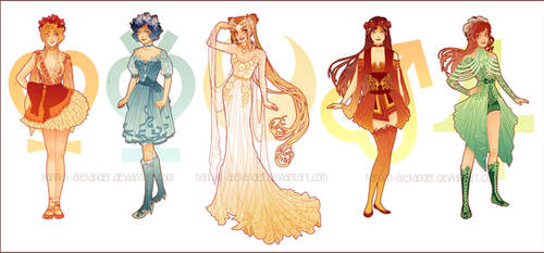 Sailor Moon: Art Nouveau Costume Designs